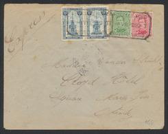 """Affranch. Mixte (émission 1915 , N°137/38 / Perron De Liège) Obl Télégraphe-téléphone """"Bruxelles Nord"""" Vers Ostende - Briefe U. Dokumente"""