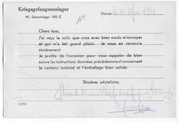 1943 - PRISONNIERS DE GUERRE - CARTE De RECEPTION De COLIS Avec INSTRUCTIONS D'EMBALLAGE Du STALAG VIIIC - Guerre De 1939-45