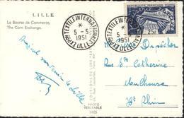 CP Lille La Bourse Du Commerce YT 881 + CAD Exposition Textile Internationale Lille 5 5 51 CM Carte Maximum - Maximum Cards