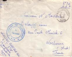 """MAROC , AUDE - LETTRE EN FM DE AIN EL HARROUDA  POUR NARBONNE , CACHET """" GROUPE DE TRANSPORT 516 """" - 1956 - Briefe U. Dokumente"""