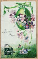 Cpfete 244 Embossed Relief JOYEUSES PÂQUES Oeufs 18-04-1906 à Henriette MARTIN 134 Rue BrocaParis XIII - Pâques