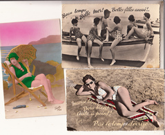 Fantaisie  Femmes A La Plage Lot De 11 Cartes  Variees Et Scannees (cpsm Et Cpsm Gm) - Donne