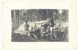 Cpa Carte-photo Militaire, Soldats, Tente, Guitare, Mandoline - Personnages