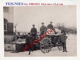 FEIGNIES-Chariot De L'Infirmerie-Grosse PHOTO Allemande-GUERRE 14-18-1WK-France-59-Militaria- - Feignies