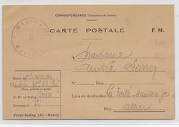 1940 - PRISONNIERS DE GUERRE - CAMPS PROVISOIRES RARES - CARTE FM Du FRONT-STALAG 161 à NANCY (MEURTHE ET MOSELLE) !! - Marcofilie (Brieven)