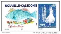 Nouvelle Caledonie France Timbre Personnalise Timbre A Moi Autocollant Prive Bunel Loche Bleu Poisson Cagou 2015 UNC - Altri