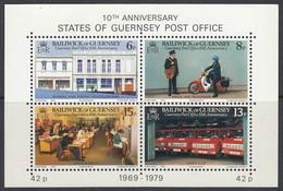 GUERNSEY  Block 2, Postfrisch **, 10 Jahre Unabhängige Postverwaltung, 1979 - Guernsey