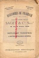 75- PARIS- RARE CATALOGUE PHARMACIE SAGET -MAISON LEGENDRE -1905- EBULLISCOPE-DOUCHE NASALE-SAVON- -SERINGUE - Documenti Storici