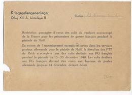 """1940 - PRISONNIERS DE GUERRE - CP """"AVIS De RESTRICTION PASSAGERE D'ENVOI NOËL 1940"""" De L'OFLAG XIIIA - Marcophilie (Lettres)"""
