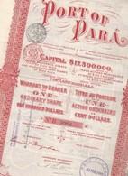 Port Of Para - Action Ordinaire De 100 $ - Bresil - 1906. - Mijnen