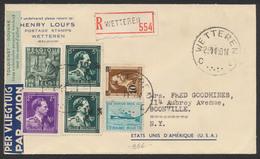 Col Ouvet -10% + Ostende-dover Sur Lettre Par Avion En R De Wetteren (1950) + Contrôle Des Douanes Vers Boonville (USA) - 1946 -10%