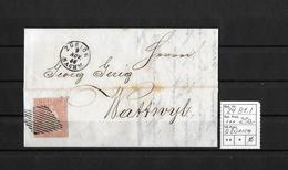1854-1862 Helvetia (ungezähnt) → Faltbrief ZÜRICH Nach Wattwyl ►SBK-24B1.I / Klarer Fingerhutstp.& Raute, Guter Schnitt◄ - Lettres & Documents