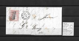 1854-1862 Helvetia (ungezähnt) → Faltbrief ZÜRICH Nach Wattwyl ►SBK-24B1.II/III / Fingerhutstp.& Raute,Bogenrandstück!!◄ - 1854-1862 Helvetia (Non-dentelés)