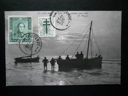 Ostende ,2 Timbres Sur Carte - Poststempels/ Marcofilie