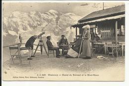 * CHAMONIX , Chalet Du Brévent Et Le Mont Blanc , CPA ANIMEE , 1907 - Chamonix-Mont-Blanc