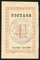 Madagascar SG37b 4 1/2d Rose Postage 29.5mm Violet BRITISH CONSULATE MAIL H/S - Madagaskar (1960-...)