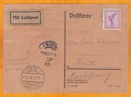 1927 - Carte Postale Par Avion De Munich, Allemagne Vers Wien, Vienne, Autriche Par Avion Américain Columbia - Germany