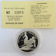 0473 - 100 Francs 1990 - Albertville 1992 - Slamomeur Et Slalomeuse - Argent 900‰ - Commemoratives