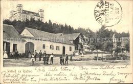 31735371 Racice Dorfpartie Brunnen Schloss Stempel Auf AK Tschechische Republik - Schneeberg