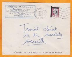 1962 - EA - Enveloppe D' Alger Strasbourg Vers Marseille, France - 25 C Decaris Surchchargé  EA Seul - Algerien (1962-...)