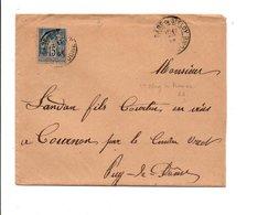 SAGE SUR LETTRE DE GARE DE SAINT ELOY PUY DE DOME 1896 - Marcofilia (sobres)