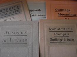 5 Catalogues 1930 Ets Hamelle  Appareils Graisseurs / Outillage Mécanique / Appareils De Levage / Robinetterie / Amiante - Otros
