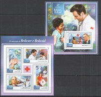 ST1470 2015 S. TOME E PRINCIPE SCIENCE 50 ANNIVERSARY MEDICARE MEDICAID KB+BL MNH - Geneeskunde