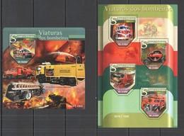 ST1483 2015 S.TOME E PRINCIPE TRANSPORT FIRETRUCK VIATURAS DOS BOMBEIROS KB+BL MNH - Vrachtwagens