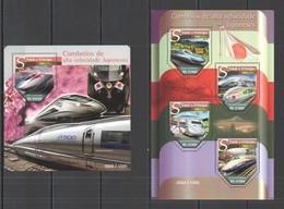 ST1485 2015 S. TOME E PRINCIPE TRAINS COMBOIOS DE ALTA VELOCIDADE JAPON KB+BL MNH - Trenes
