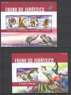 ST1514 2015 S. TOME E PRINCIPE ANIMALS & FAUNA JURASSIC DINOSAURS 1KB+1BL MNH - Stamps