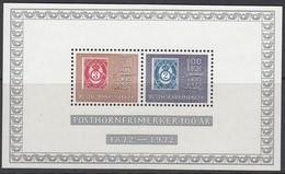NORWEGEN Block 1, Postfrisch **, 100 Jahre Posthorn-Marken 1972 - Blocks & Kleinbögen