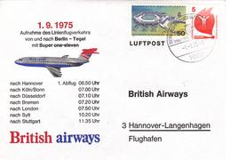 Aufnahme Des Linienflugverkehrs Von Und Nach Berlin-Tegel Min Super One-eleven, 1.9.1975 - Avions