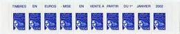 MARIANNE DE LUQUET  N°3449 **  BANDE DE 10 AVEC PUB - 1997-04 Marianna Del 14 Luglio