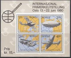 NORWEGEN Block 2, Postfrisch **, Internationale Briefmarkenausstellung NORWEX 1980, Oslo 1979, Luftfahrt - Blocks & Kleinbögen