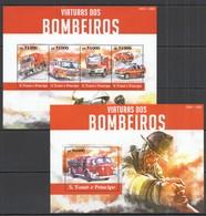 ST1537 2015 S.TOME E PRINCIPE TRANSPORT FIRETRUCK VIATURAS DOS BOMBEIROS KB+BL MNH - Vrachtwagens