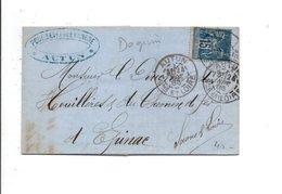 SAGE SUR PLI DE AUTUN SAONE ET LOIRE 1886 - Marcophilie (Lettres)