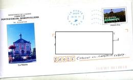 Pap Champagne Flamme Muette Poste 24107A Illustré Mairie Pontfaverger - Biglietto Postale
