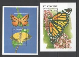 D668 ST. VINCENT BUTTERFLIES & FLOWERS FLORA & FAUNA 2BL MNH - Schmetterlinge