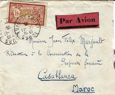 AEROPOSTALE - 1925- Enveloppe De Paris PAR AVION Affr. 1 F Merson Seul Pour Casablanca - Marcofilia (sobres)