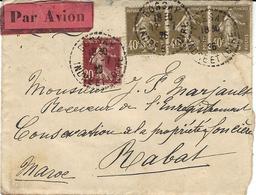 AEROPOSTALE - 1926- Enveloppe De Bossay ( Indre Et Loire PAR AVION Affr. SEMEUSE 1,20 F  Pour Casablanca - Marcofilia (sobres)