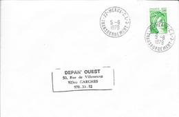 SEINE ET MARNE 77 -   MEAUX C.T.C. TRANSBORDEMENT    -  CACHET RECETTE R A9   - 1979-  BELLE FRAPPE - Marcofilia (sobres)