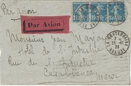 AEROPOSTALE - 1923- Enveloppe De La Souterraine ( Creuse  ) PAR AVION Affr. SEMEUSE 0,75 F  Pour Casablanca - Marcofilia (sobres)