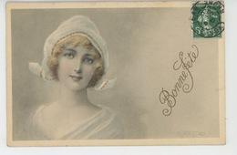 """FEMMES - FRAU - LADY - Jolie Carte Fantaisie Portrait Femme """"Bonne Fête """"signée KRATKI - Donne"""
