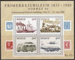 NORWEGEN Block 3, Postfrisch **, Internationale Briefmarkenausstellung NORWEX 1980, Oslo 1980,125 J. Norw. Briefmarken - Blocks & Kleinbögen