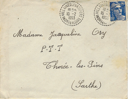 1953- Enveloppe Affr. 15 F Gandon Oblit. Cad Facteur Receveur De VILLAINES Les ROCHERS ( Indre Et Loire ) - Storia Postale