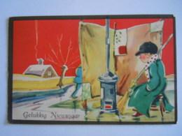 Gelukkig Nieuwjaar Bonne Annee Jongen Clochard Kachel Poêle Edit Hollandia 225 Verstuurd 1936 - Neujahr