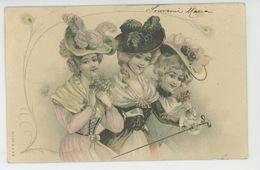 FEMMES - FRAU - LADY - Jolie Carte Fantaisie Portrait Femmes élégantes Avec Jolis Chapeaux - Donne