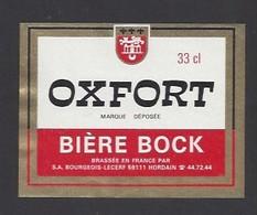 Etiquette De  Bière Bock  -  Oxfort  -  SA Bourgeois Lecerf à Hordain  (59) - Bière