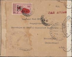 YT Ae 47 Madagascar Surcharge France Libre FM Taxe Aérienne Censures Bandes + Cachet Contrôle Postal AEF Commission ? - Lettres & Documents