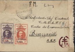 YT 226 229 Cote Française Somalis Surcharge France Libre Bande Censure Contrôle Postal + A/5 FM Censure Croix Lorraine - Lettres & Documents